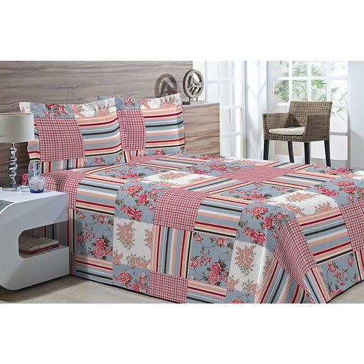 Kit-Colcha-Piquet-Favo-Casal-Top-Confort-Patchwork-Vermelho-e-Azul-3-pecas