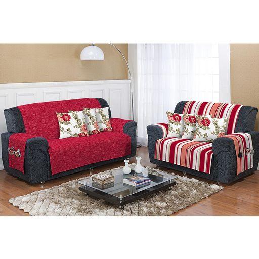 Kit-Protetor-de-Sofa-Dupla-Face-Estampado-2-e-3-lugares-Decore-Vermelho-Listrado-2-pecas-Textil-Lar