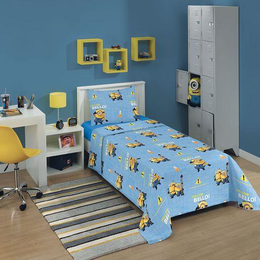 jogo-de-cama-solteiro-minions-azul