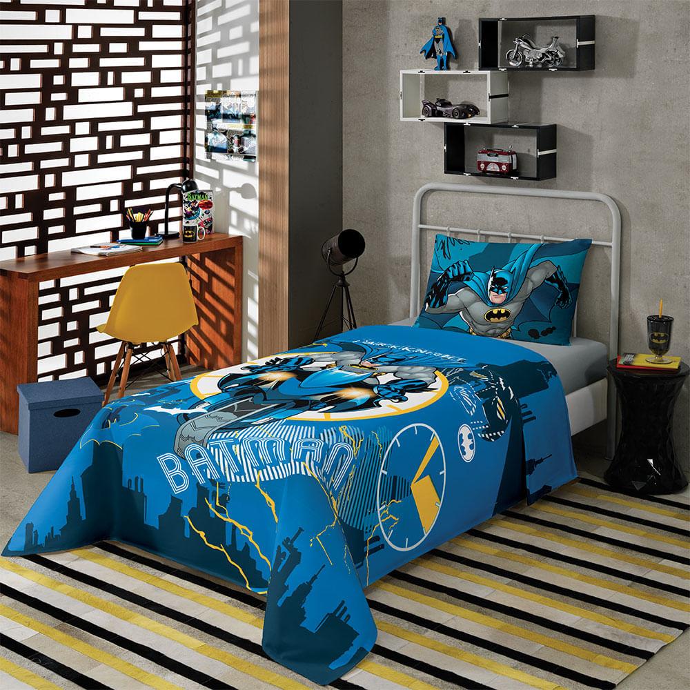 75ec8fede3 Jogo de Cama Solteiro Batman Azul Escuro com 2 peças Empório e Cia -  Emporio e Cia