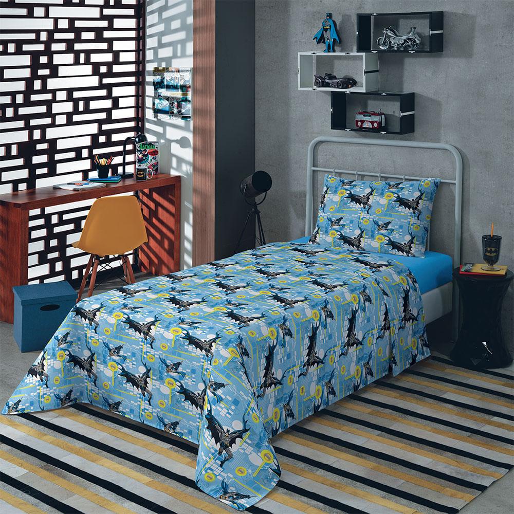4e747c1788 Jogo de Cama Solteiro Batman Azul Claro com 2 peças Empório e Cia - Emporio  e Cia