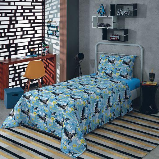 jogo-de-cama-solteiro-batman-azul-claro