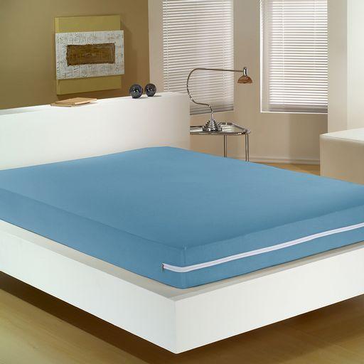 Capa-para-Colchao-Queen-Azul-Malha-100--Algodao-com-Ziper-Azul-Portallar