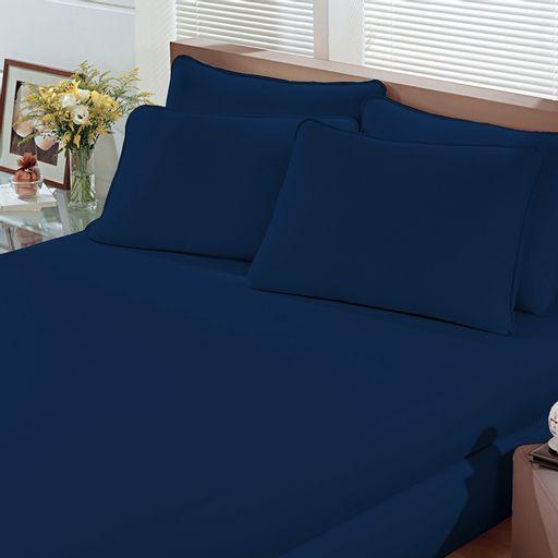 Lencol-Malha-Liso-com-Elastico-Casal-Azul-Marinho-Linha-Cores-Portallar
