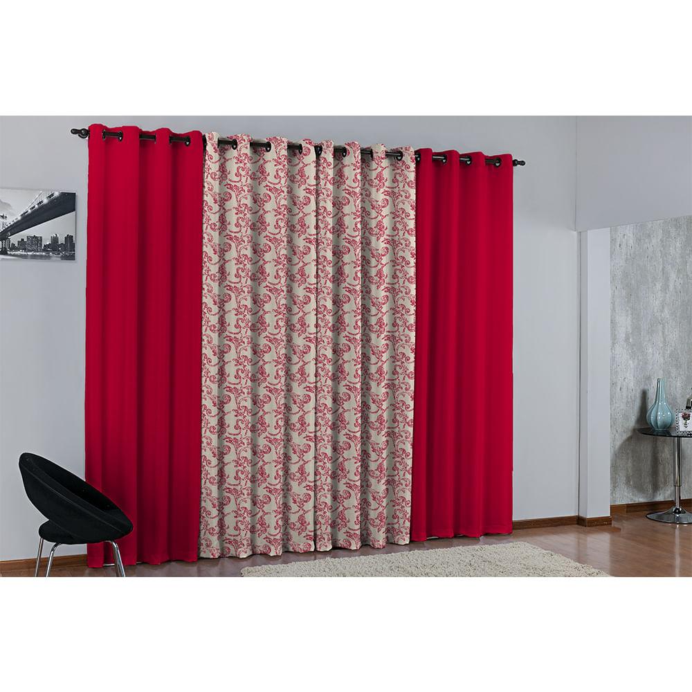 Cortina de Parede para varão Larissa Prime Vermelho Novo 1 peça Textil Lar