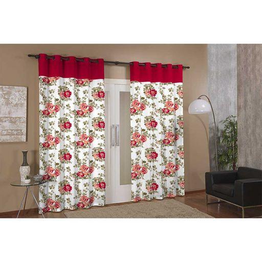 Cortina-de-Janela-para-Varao-Anna-Prime-Vermelho-Floral-Textil-Lar