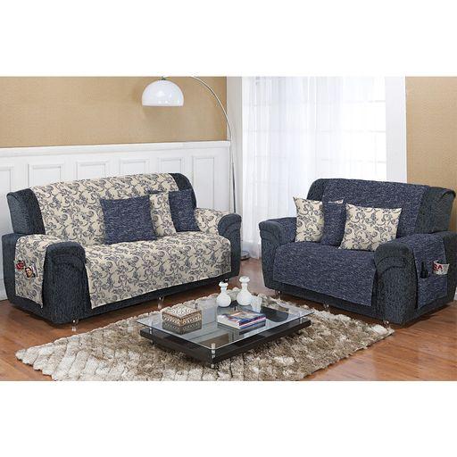 Kit-Protetor-de-Sofa-Dupla-Face-2-e-3-lugares-Decore-Azul-Nautico-2-pecas-Textil-Lar
