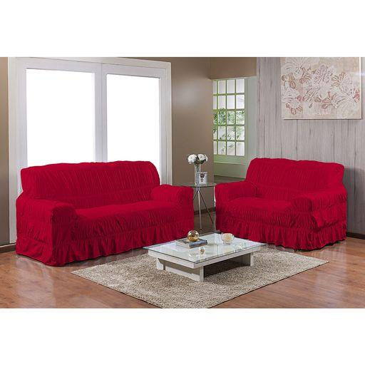 Kit-Capa-de-Sofa-25-elasticos-2-e-3-lugares-Gel-Prime-Vermelha-2-pecas