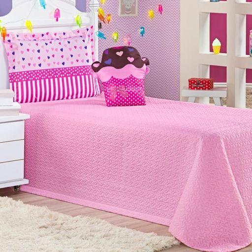 Cobre-leito-Solteiro-Life-Kids-Cupcake-Rosa-Ione-Enxovais-3-pecas