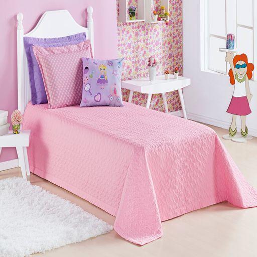 Cobre-leito-Solteiro-Alegria-Princesa-Rosa-3-pecas
