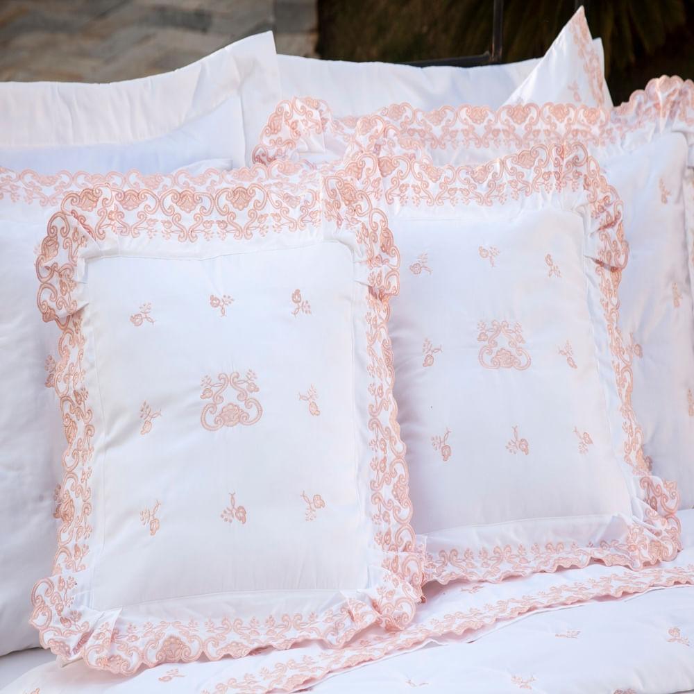 Almofada Decorativa Bordada 600 fios Rivieri Branco Vilela Enxovais 2 peças