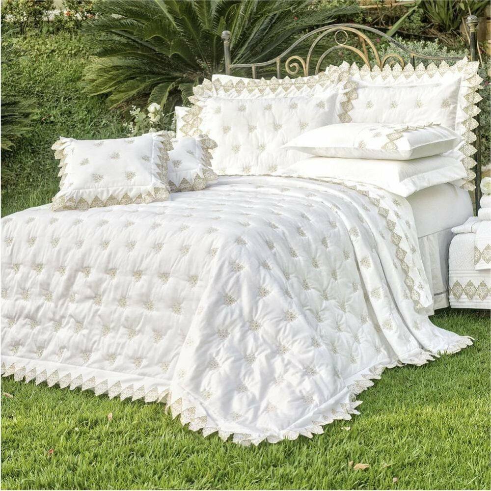 Almofada Decorativa Bordada 400 fios Sensualle Branco Vilela Enxovais 2 peças