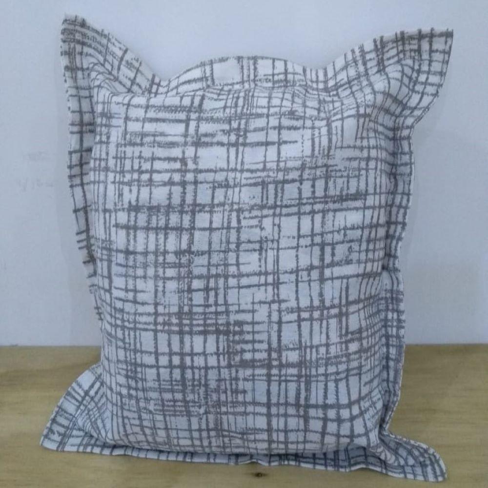 Kit Capa Almofada com aba Decore Branca Estampada 2 peças Textil Lar
