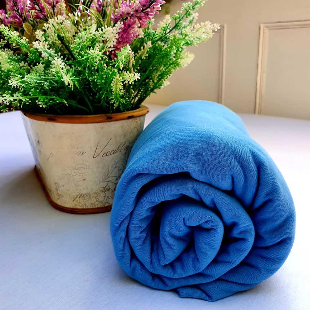 Lençol Avulso Malha 100% Algodão King Size Azul Indigo Linha Trento Camtália 1 peça