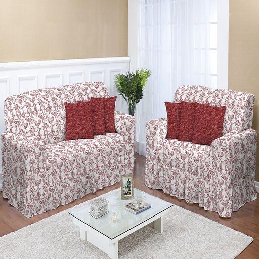 Kit-Capa-de-Sofa-Estampado-2-e-3-lugares-Decore-Vermelha-2-pecas-Textil-Lar