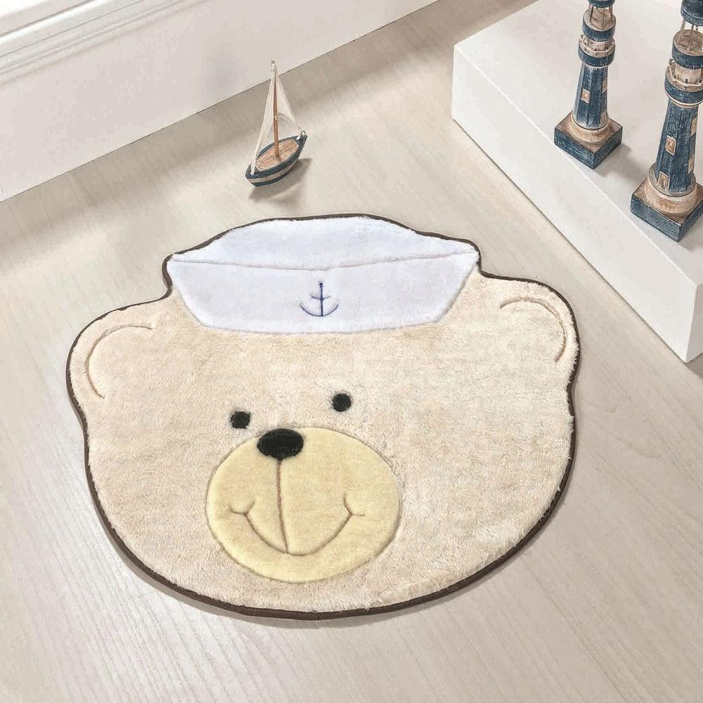 Tapete Premium Baby Urso Marinheiro 78cm x 58cm Palha Guga Tapetes