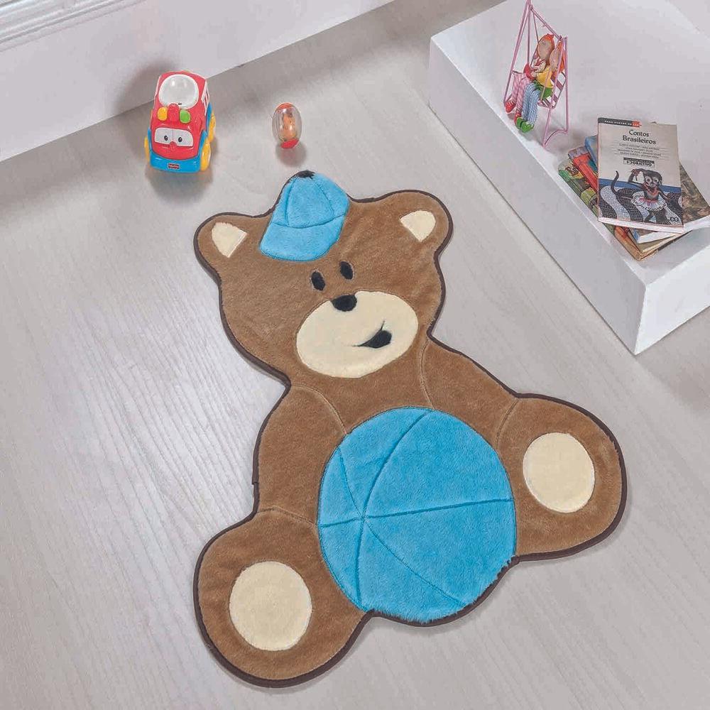 Tapete Premium Baby Urso Baby 75cm x 62cm Azul Turquesa Guga Tapetes