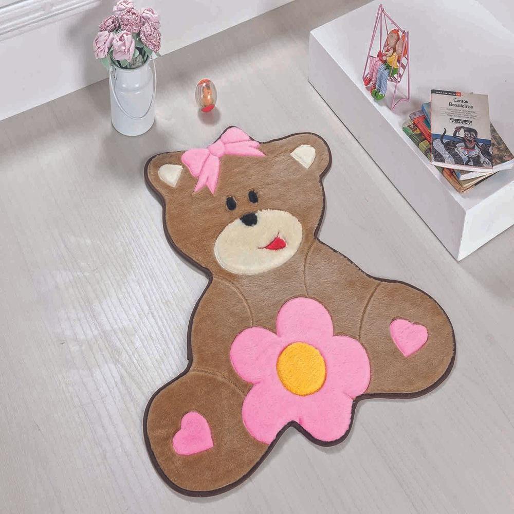 Tapete Premium Baby Urso Baby 75cm x 62cm Rosa Guga Tapetes
