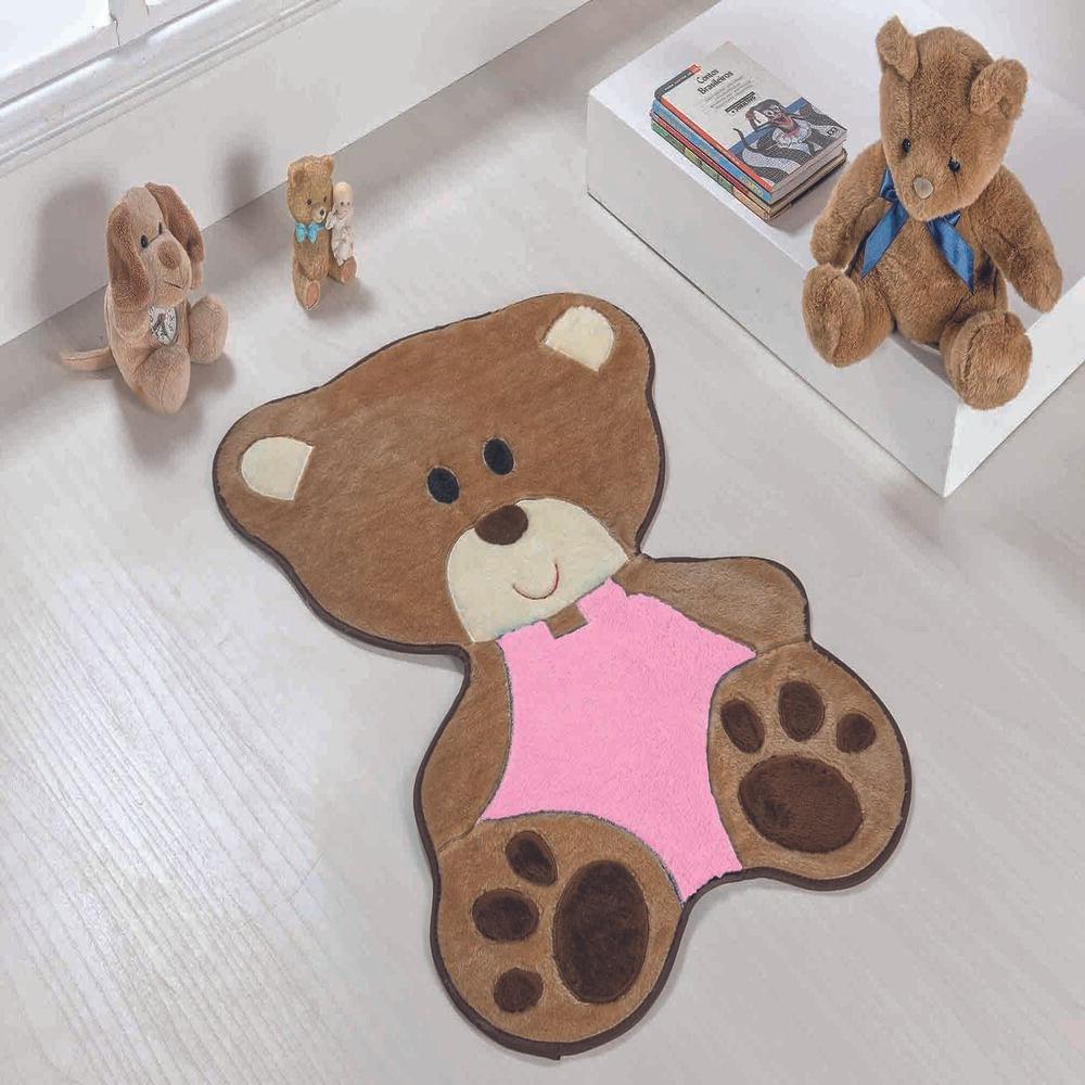 Tapete Premium Baby Bebê Urso 78cm x 54cm Rosa Guga Tapetes