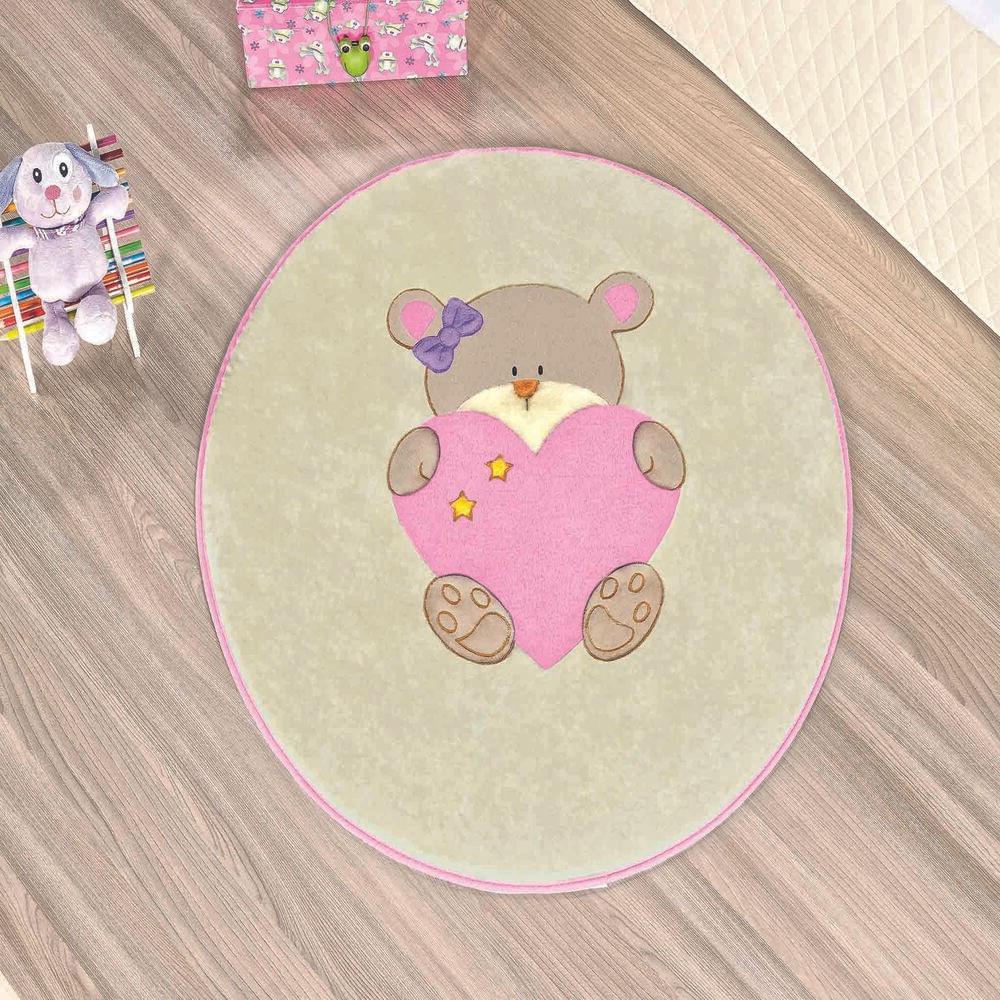Tapete Premium Baby Ursinha Bebê 78cm x 68cm Rosa Guga Tapetes