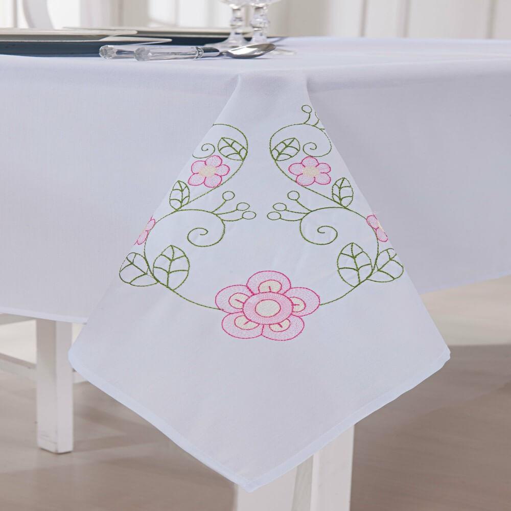 Toalha de Mesa Quadrada Dália Branco e Lilás Guga Tapetes