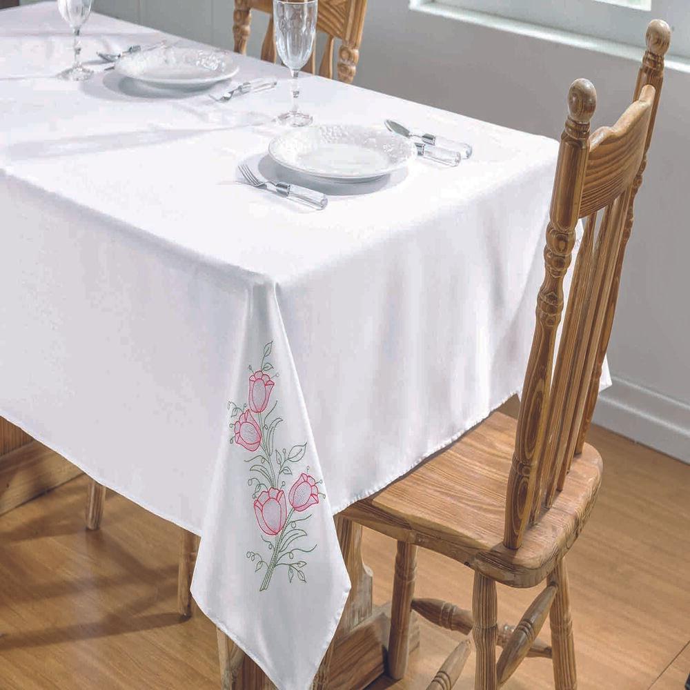 Toalha de Mesa Retangular 8 Lugares Primavera Branco e Pink Guga Tapetes