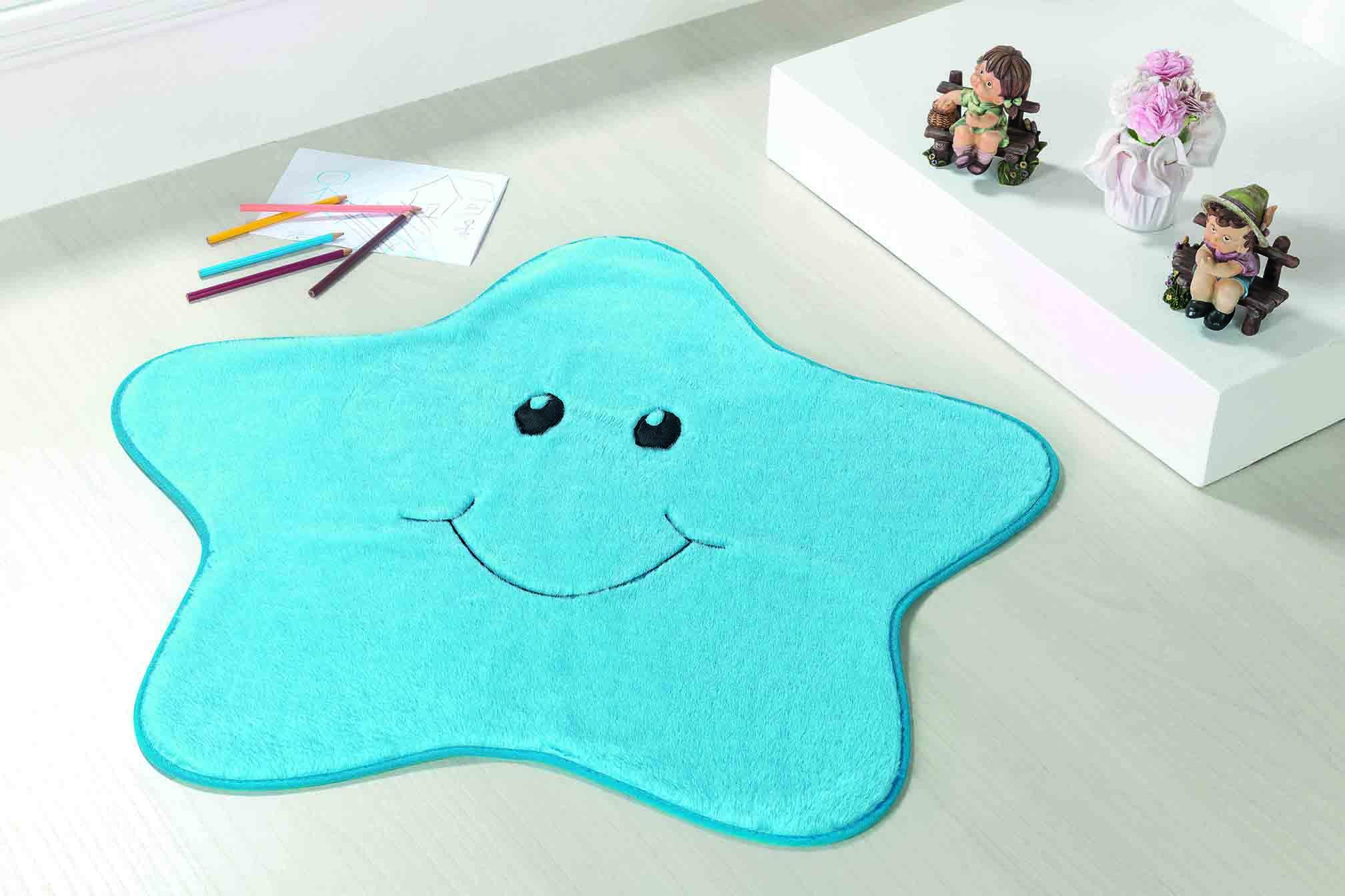 Tapete Premium Baby Estrelinha 78cm x 70cm Azul Turquesa Guga Tapetes
