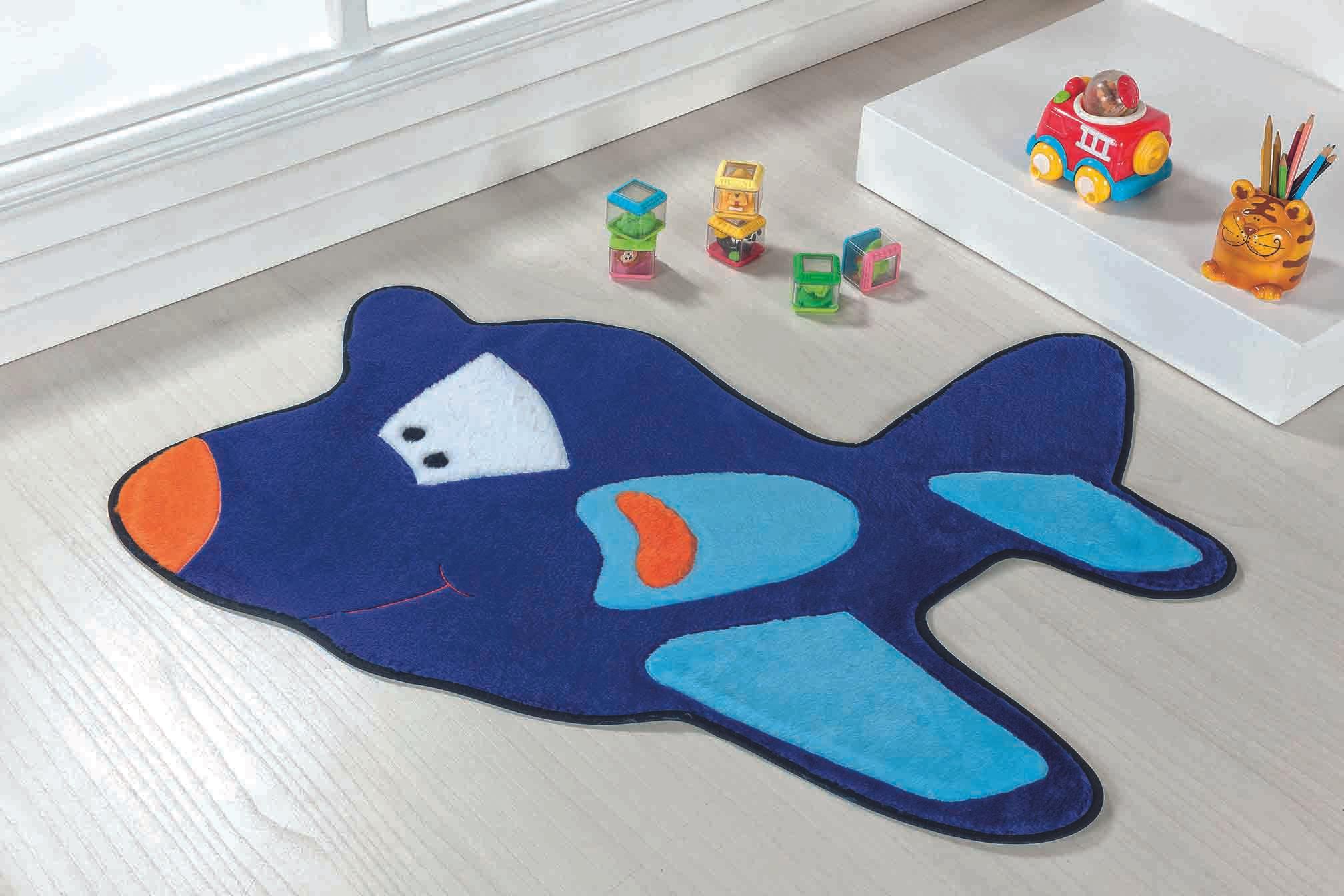 Tapete Premium Baby Avião 98cm x 68cm Azul Royal Guga Tapetes