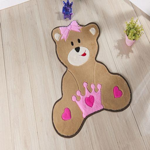 Tapete-Premium-Baby-Ursa-Coroa-74cm-x-66cm-Rosa-Guga-Tapetes