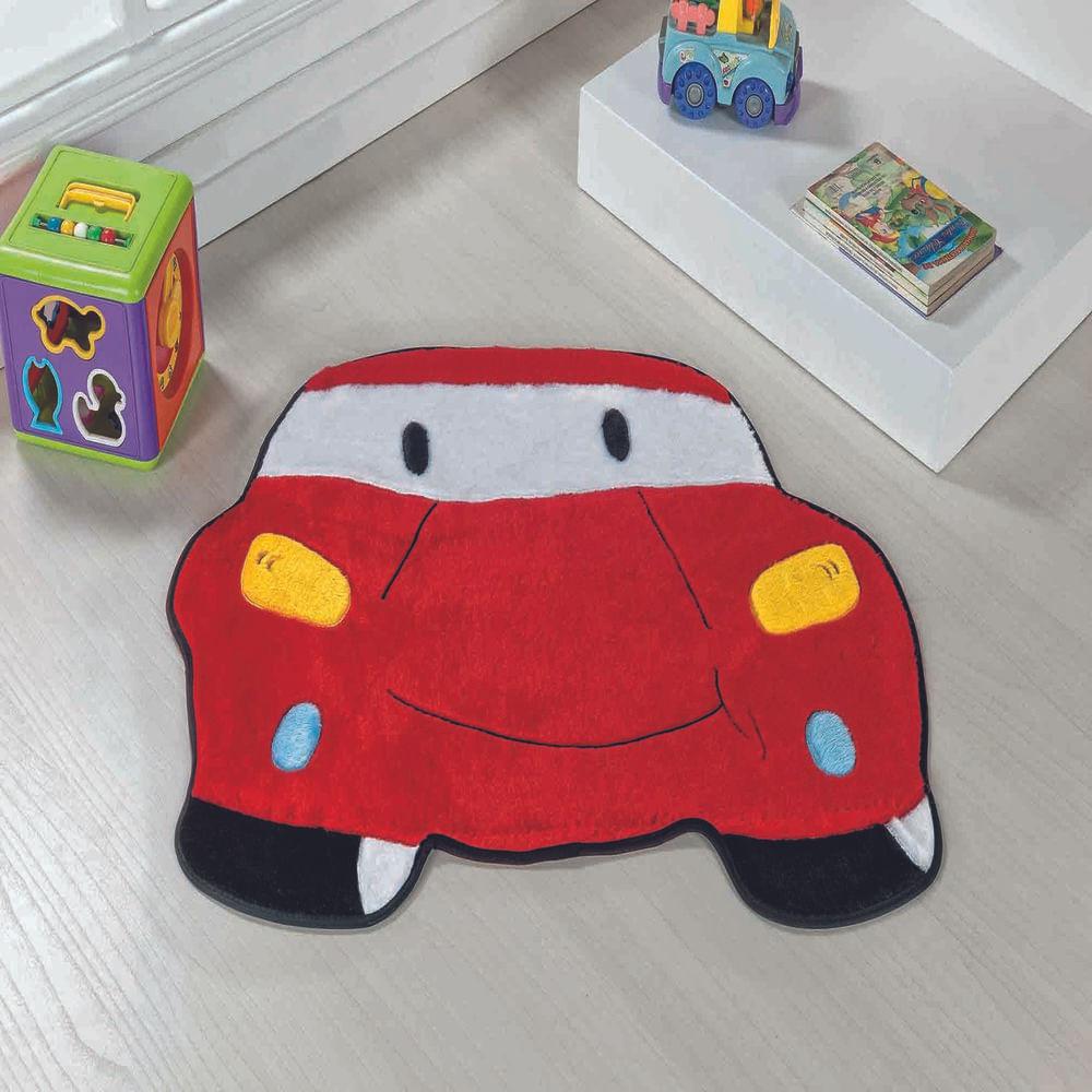 Tapete Premium Baby Carro 78cm x 60cm Vermelho Guga Tapetes