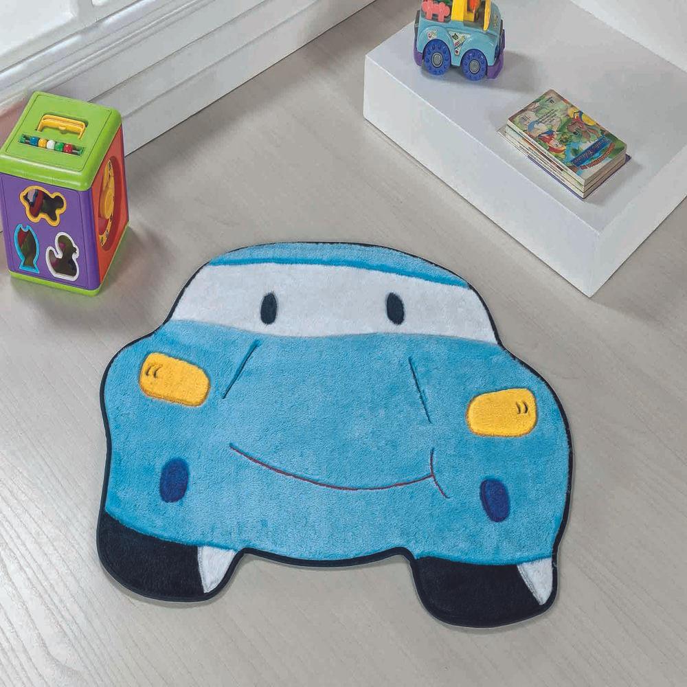 Tapete Premium Baby Carro 78cm x 60cm Azul Turquesa Guga Tapetes
