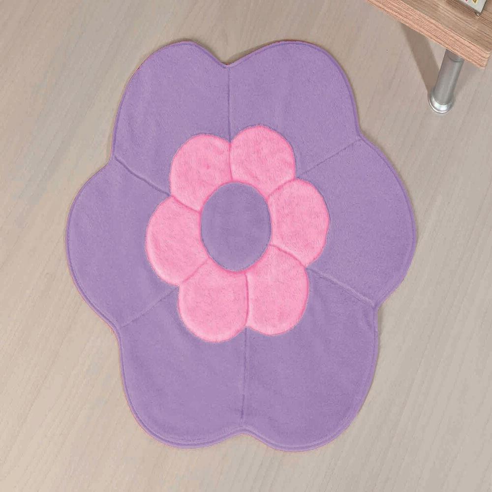 Tapete Premium Baby Margarida Dupla 70cm x 70cm Lilás Guga Tapetes