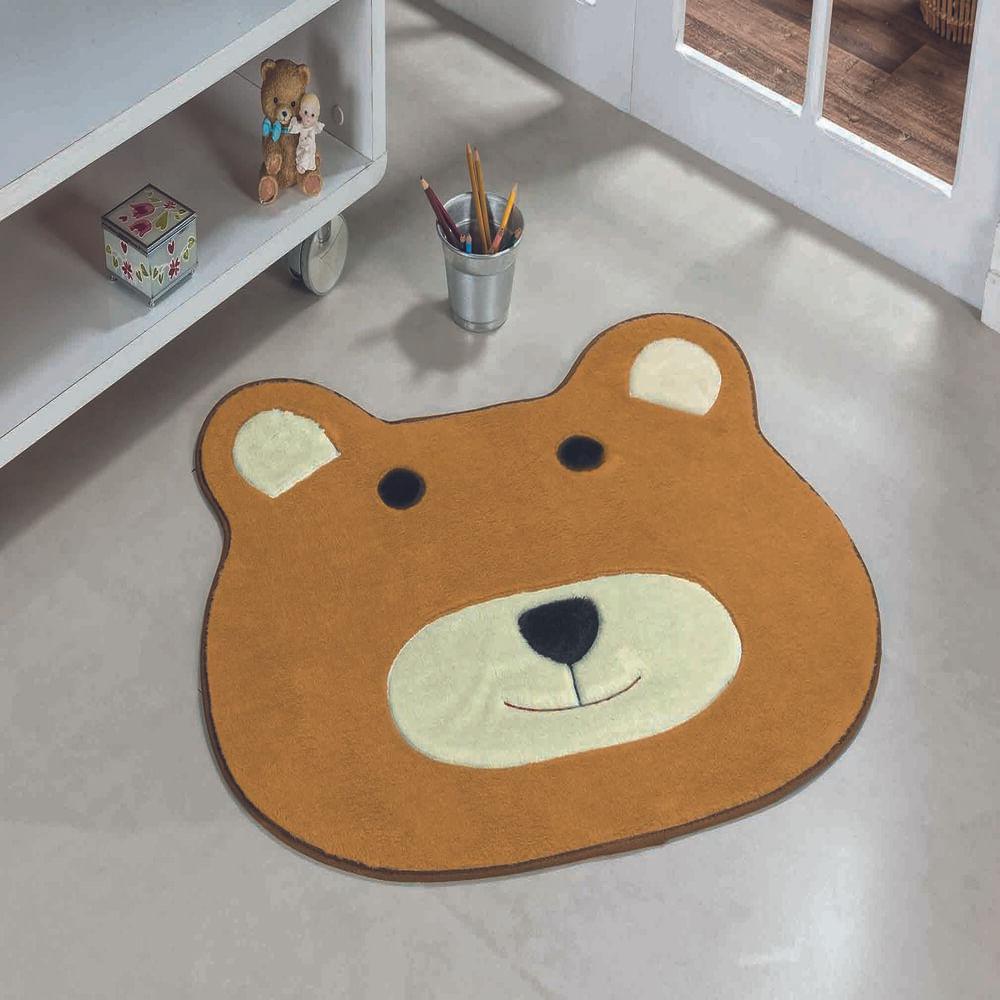 Tapete Premium Baby Urso 74cm x 64cm Caramelo Guga Tapetes