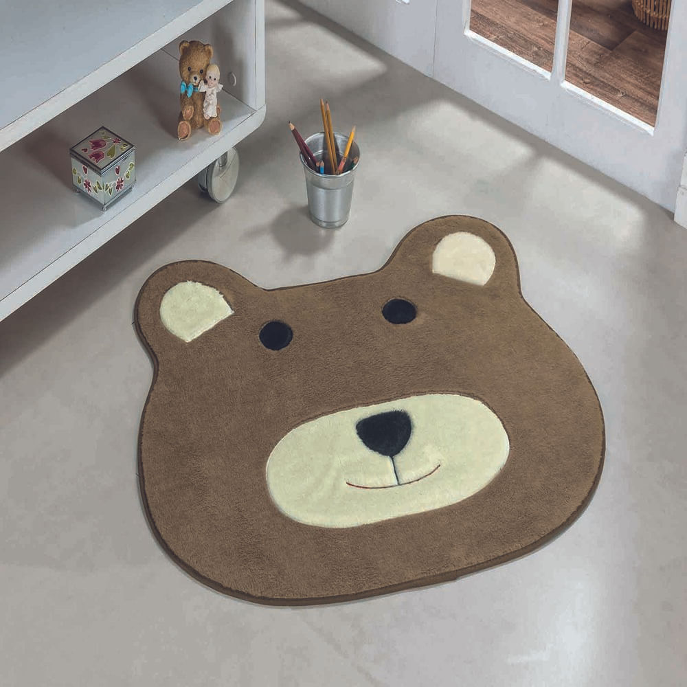 Tapete Premium Baby Urso 74cm x 64cm Castor Guga Tapetes