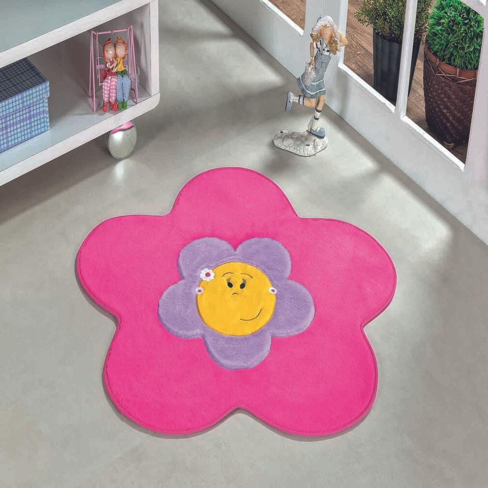 Tapete Premium Baby Menina Flor 70cm x 70cm Pink Guga Tapetes