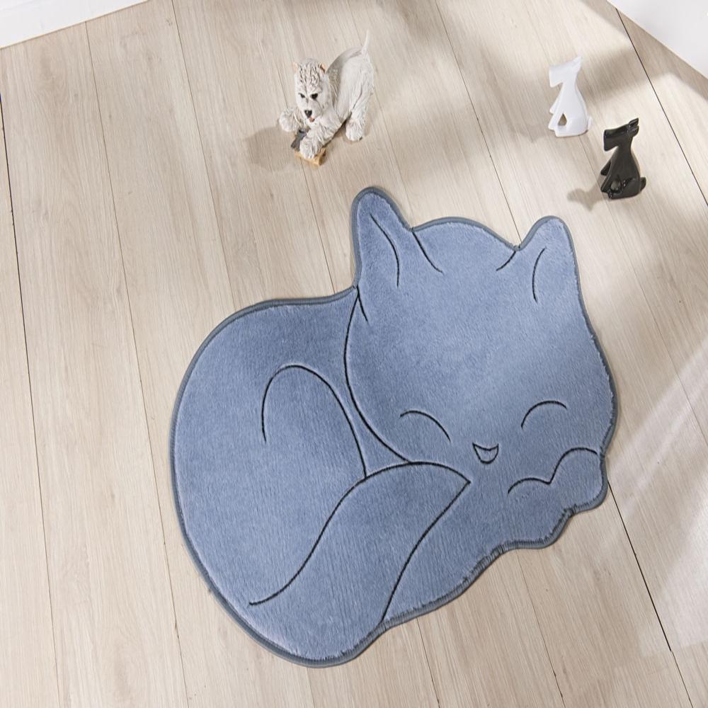 Tapete Premium Baby Gato Soneca 88cm x 62cm Cinza Guga Tapetes