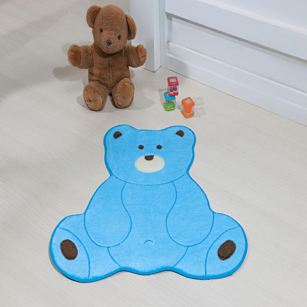 Tapete Premium Baby Urso Fofo 74cm x 70cm Azul Turquesa Guga Tapetes