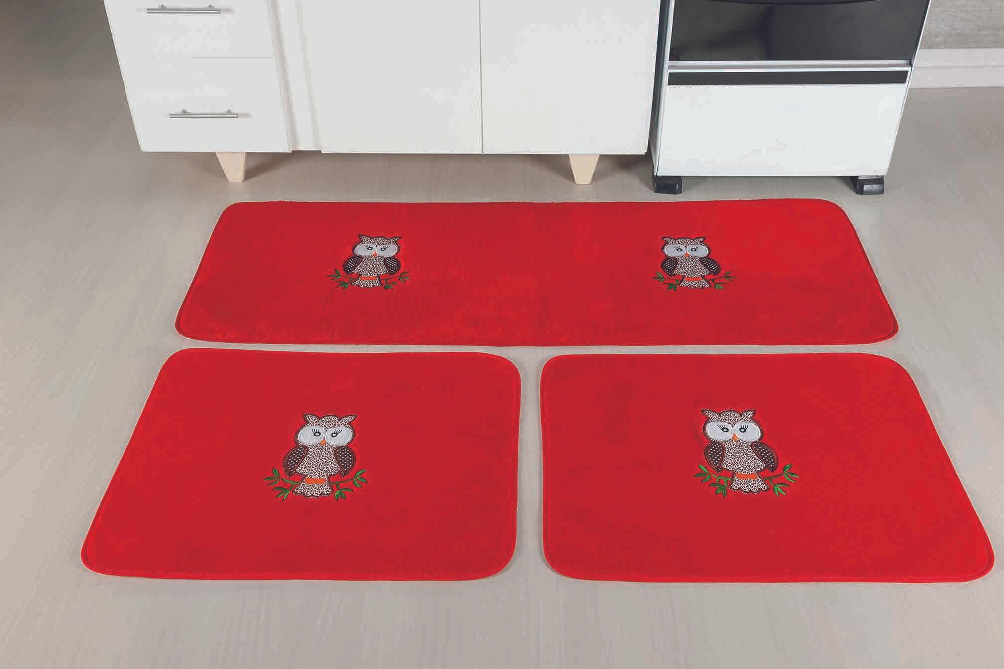 Kit de Cozinha Premium Coruja Vermelho Guga Tapetes