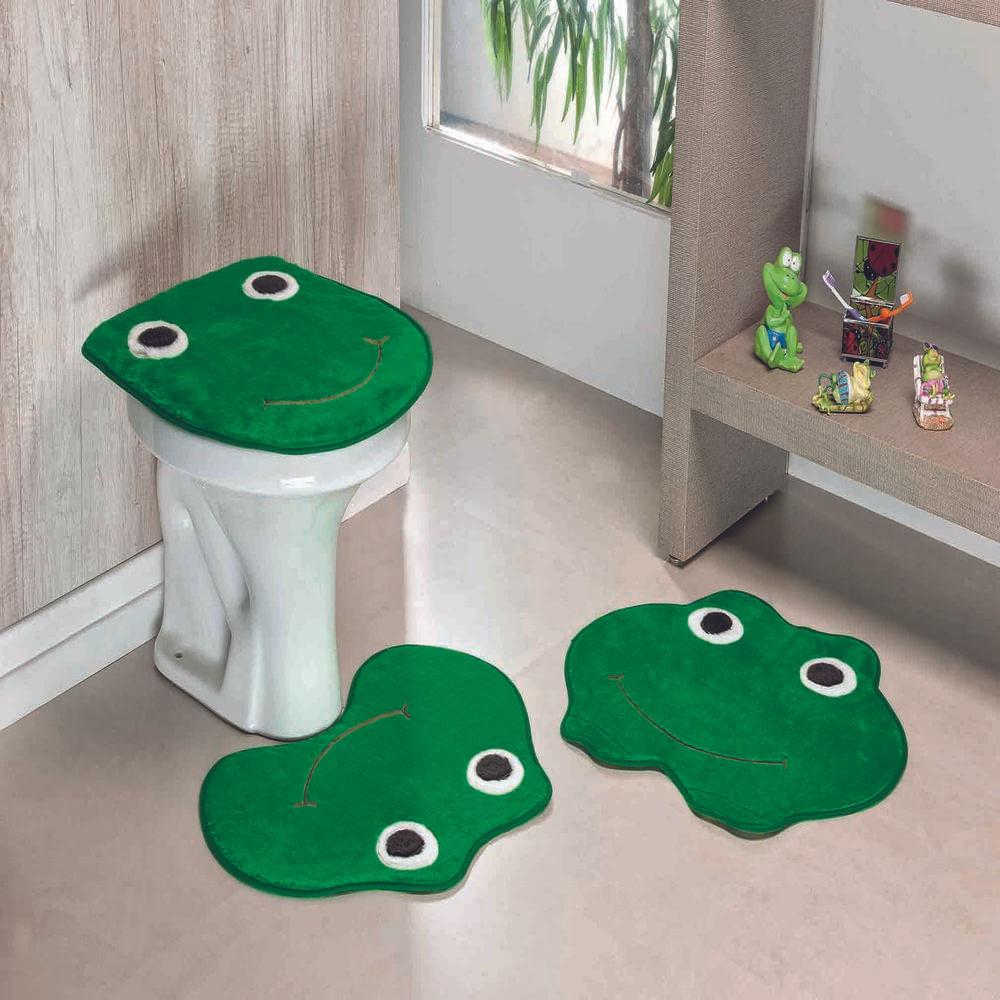 Kit Tapete Banheiro Premium Sapo Verde Bandeira Guga Tapetes 3 peças