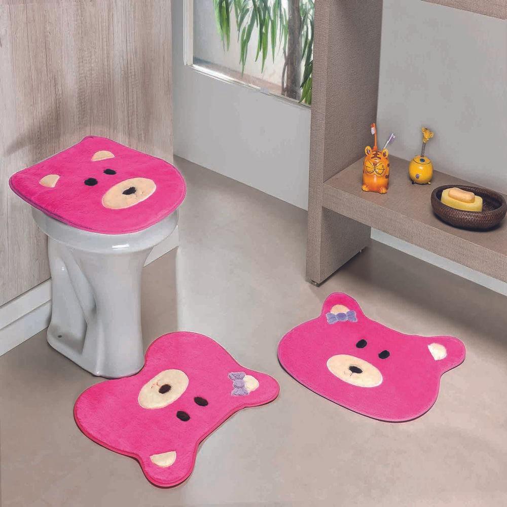Kit Tapete Banheiro Premium Ursa Pink Guga Tapetes 3 peças
