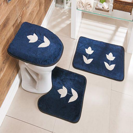 Kit-Tapete-Banheiro-Bordado-Premium-Tulipa-Azul-Marinho-Guga-Tapetes-3-pecas