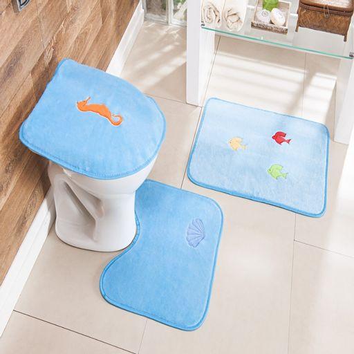 Kit-Tapete-Banheiro-Bordado-Premium-Fundo-do-Mar-Azul-Turquesa-Guga-Tapetes-3-pecas