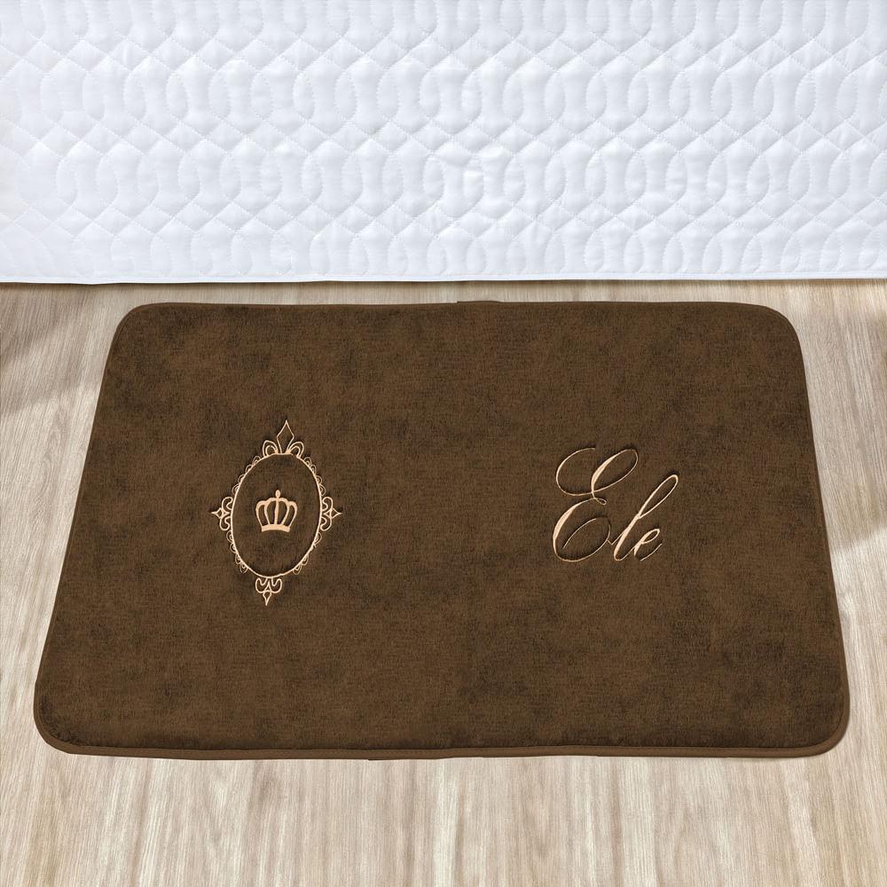 Kit Tapete de Quarto Premium Coroa 1,00m x 0,50m Café Guga Tapetes 2 peças